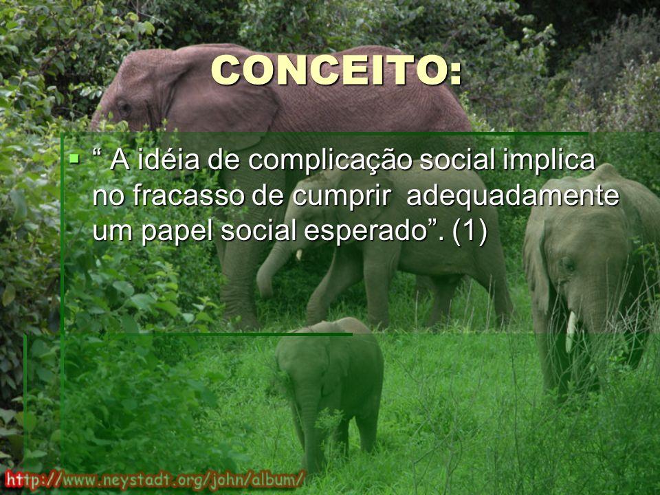 CONCEITO: A idéia de complicação social implica no fracasso de cumprir adequadamente um papel social esperado.