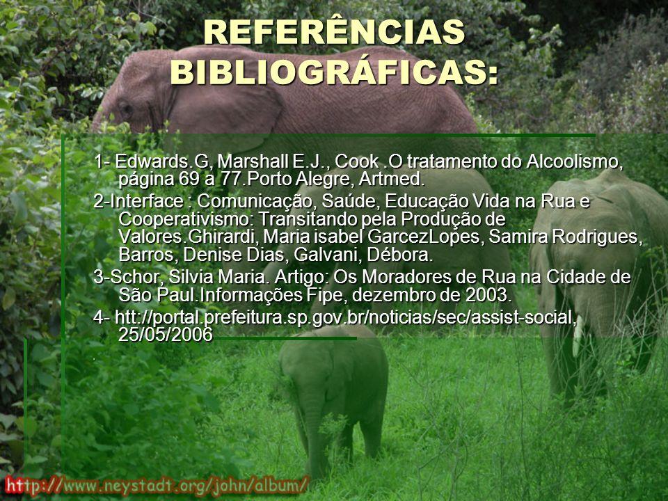 REFERÊNCIAS BIBLIOGRÁFICAS: 1- Edwards.G, Marshall E.J., Cook.O tratamento do Alcoolismo, página 69 a 77.Porto Alegre, Artmed.