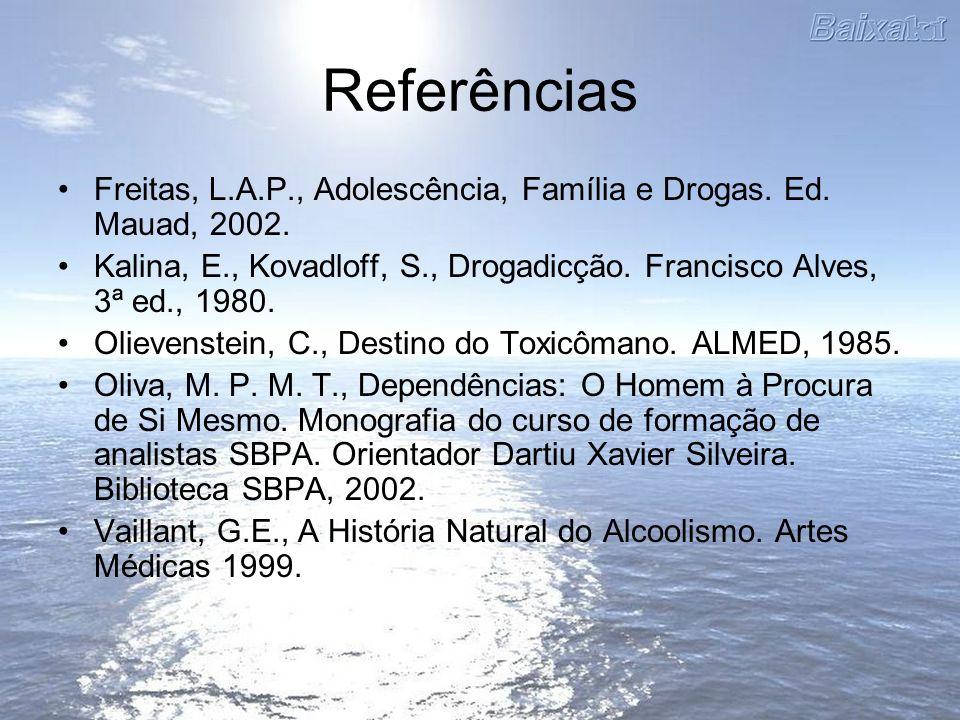 Referências Freitas, L.A.P., Adolescência, Família e Drogas. Ed. Mauad, 2002. Kalina, E., Kovadloff, S., Drogadicção. Francisco Alves, 3ª ed., 1980. O
