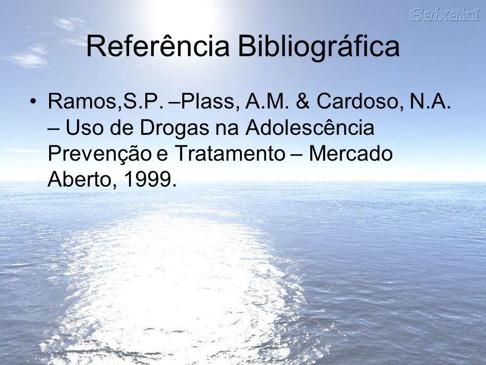 Referência Bibliográfica Ramos,S.P. –Plass, A.M. & Cardoso, N.A. – Uso de Drogas na Adolescência Prevenção e Tratamento – Mercado Aberto, 1999.