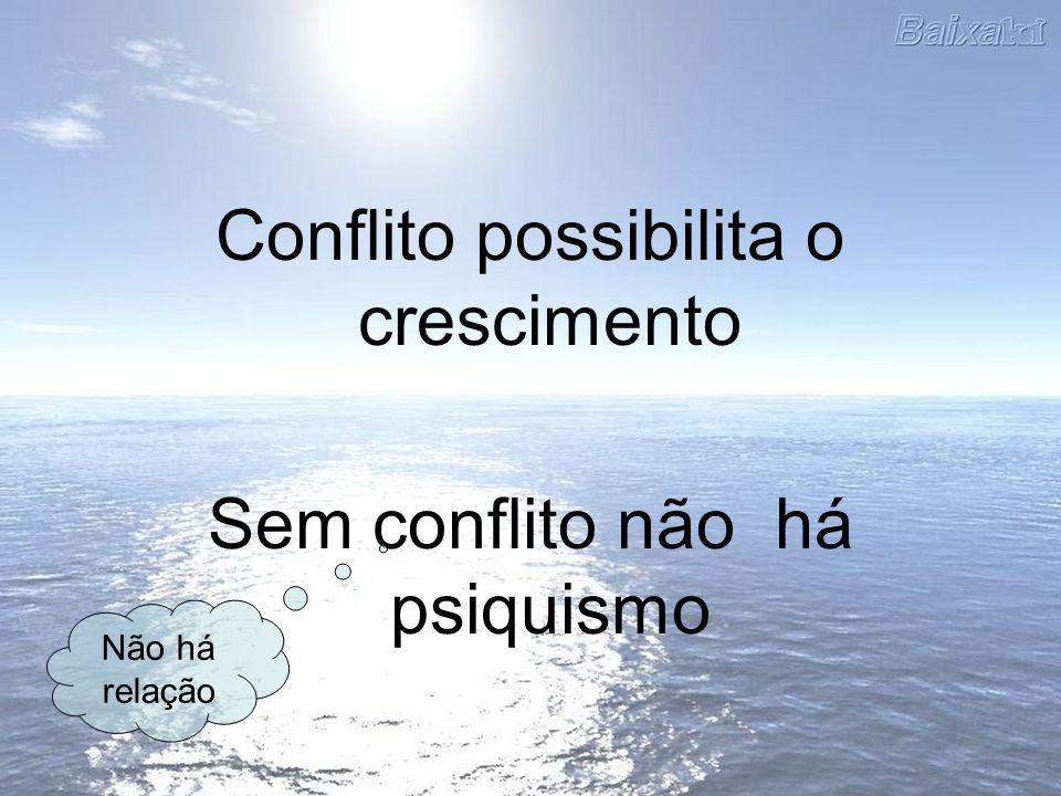 Conflito possibilita o crescimento Sem conflito não há psiquismo Não há relação