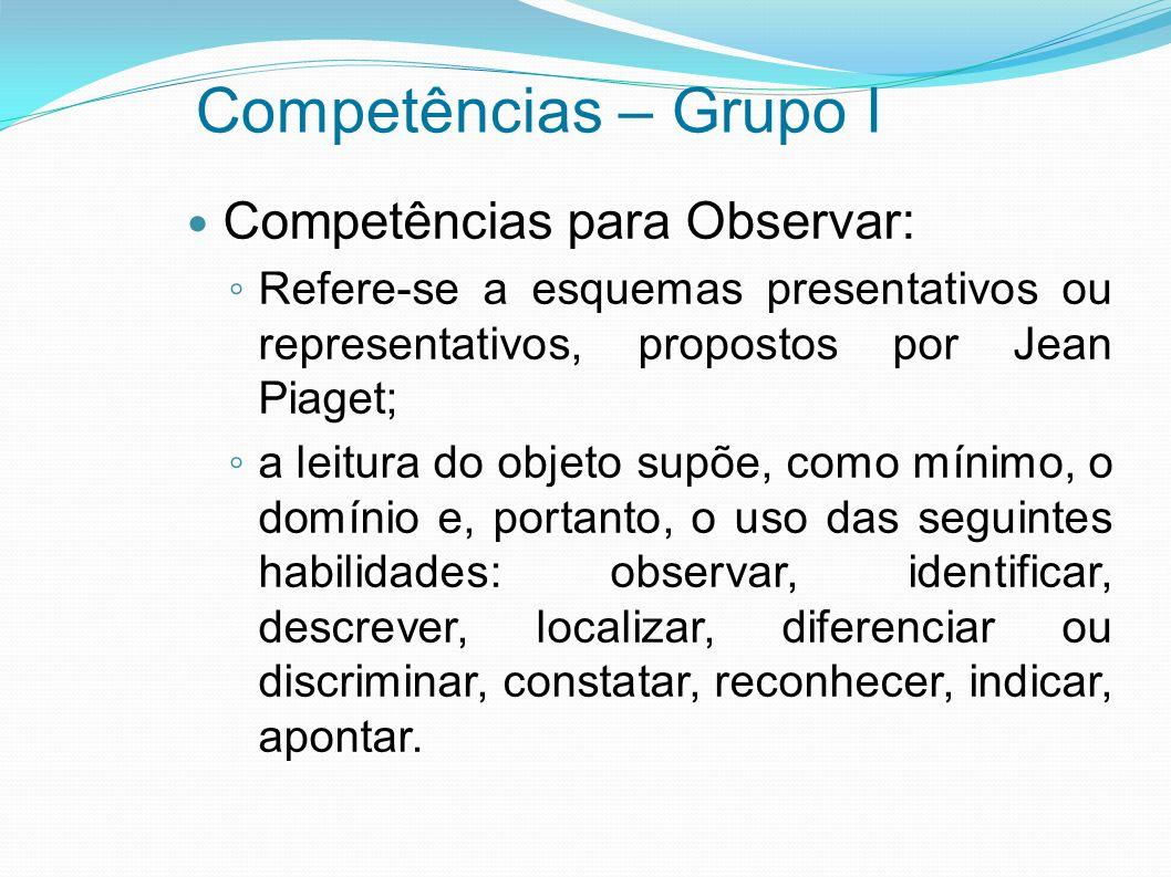 Competências – Grupo I Competências para Observar: Refere-se a esquemas presentativos ou representativos, propostos por Jean Piaget; a leitura do obje