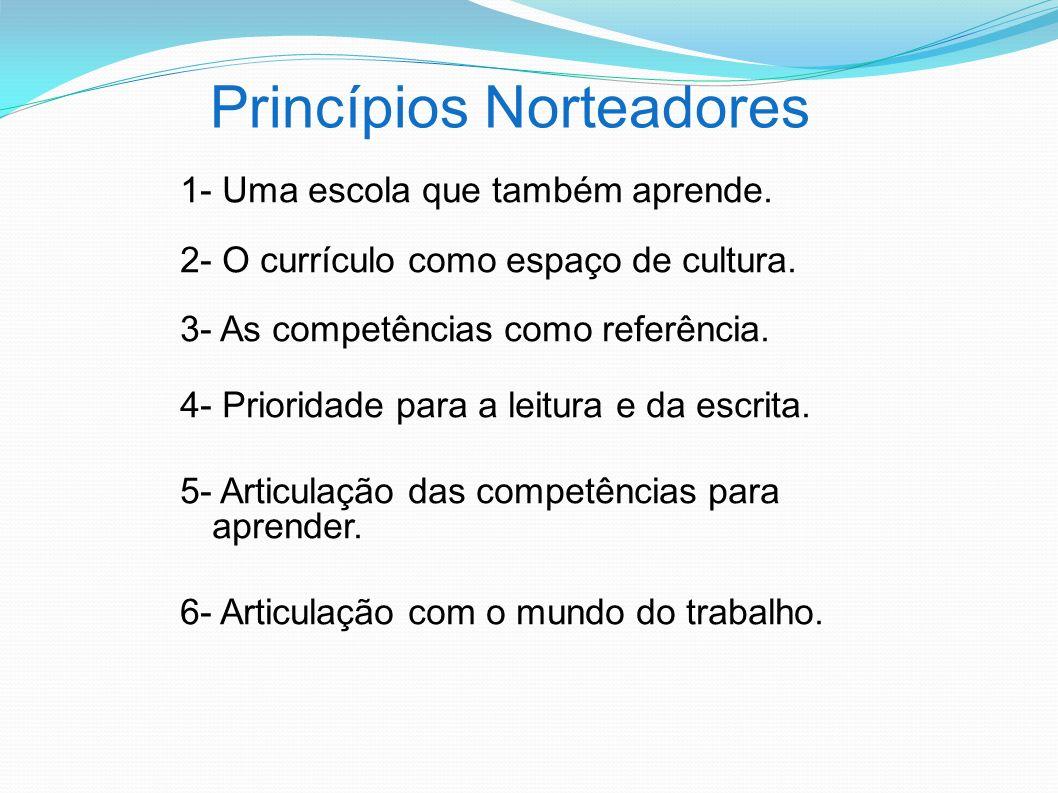 Princípios Norteadores 1- Uma escola que também aprende. 2- O currículo como espaço de cultura. 3- As competências como referência. 4- Prioridade para