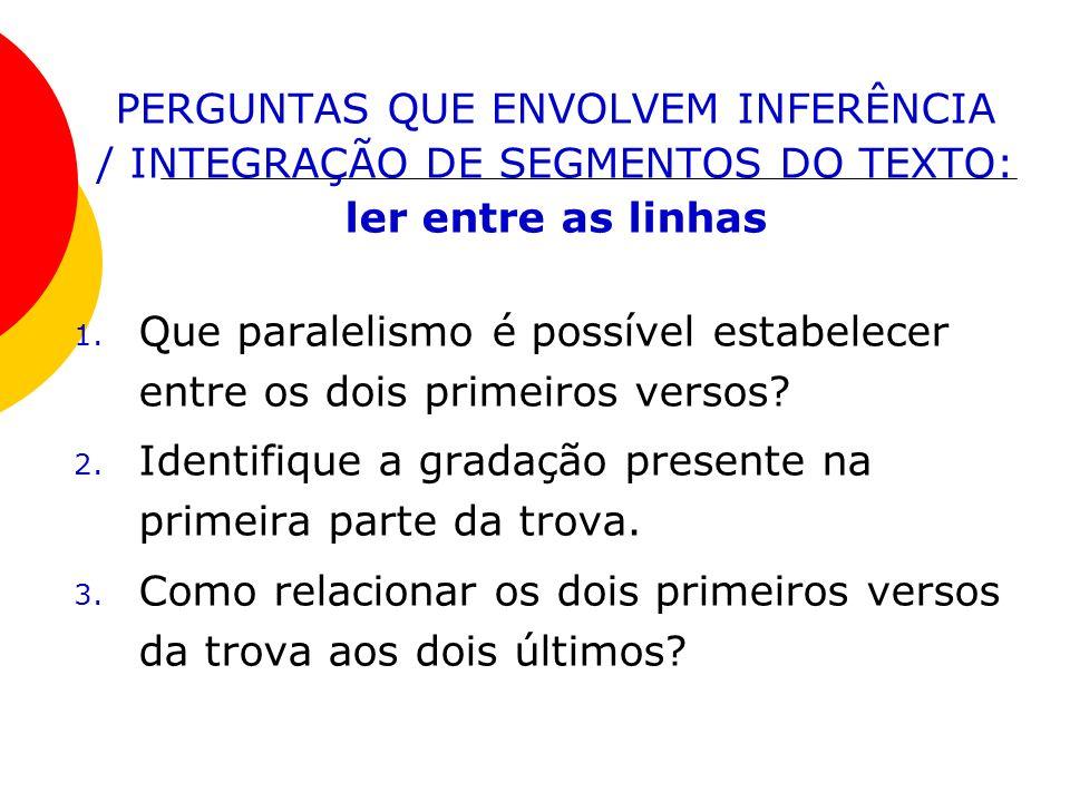 PERGUNTAS QUE ENVOLVEM INFERÊNCIA / INTEGRAÇÃO DE SEGMENTOS DO TEXTO: ler entre as linhas 1. Que paralelismo é possível estabelecer entre os dois prim