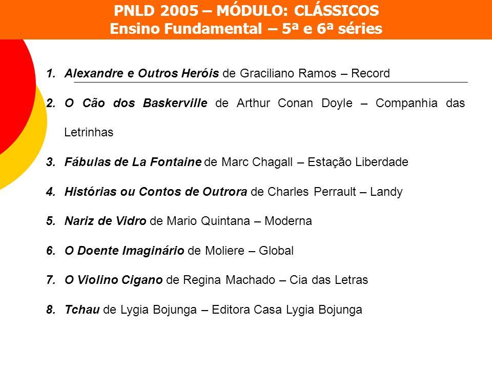 PNLD 2005 – MÓDULO: CLÁSSICOS Ensino Fundamental – 5ª e 6ª séries 1.Alexandre e Outros Heróis de Graciliano Ramos – Record 2.O Cão dos Baskerville de