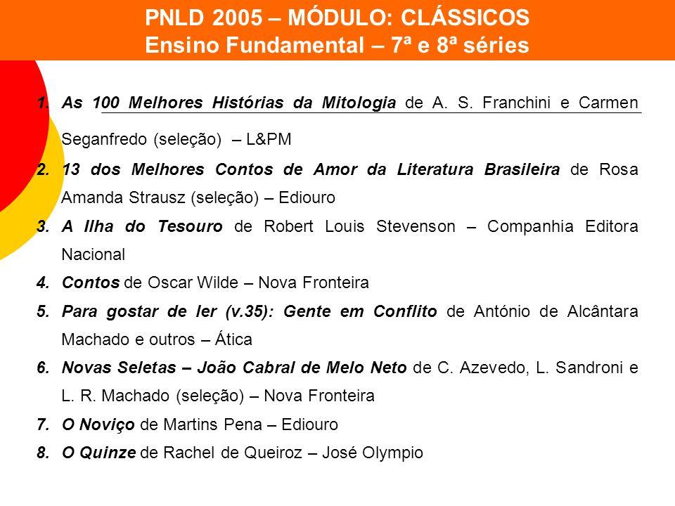 PNLD 2005 – MÓDULO: CLÁSSICOS Ensino Fundamental – 7ª e 8ª séries 1.As 100 Melhores Histórias da Mitologia de A. S. Franchini e Carmen Seganfredo (sel