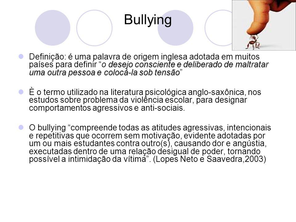 Bullying desejo consciente e deliberado de maltratar uma outra pessoa e colocá-la sob tensão Definição: é uma palavra de origem inglesa adotada em mui