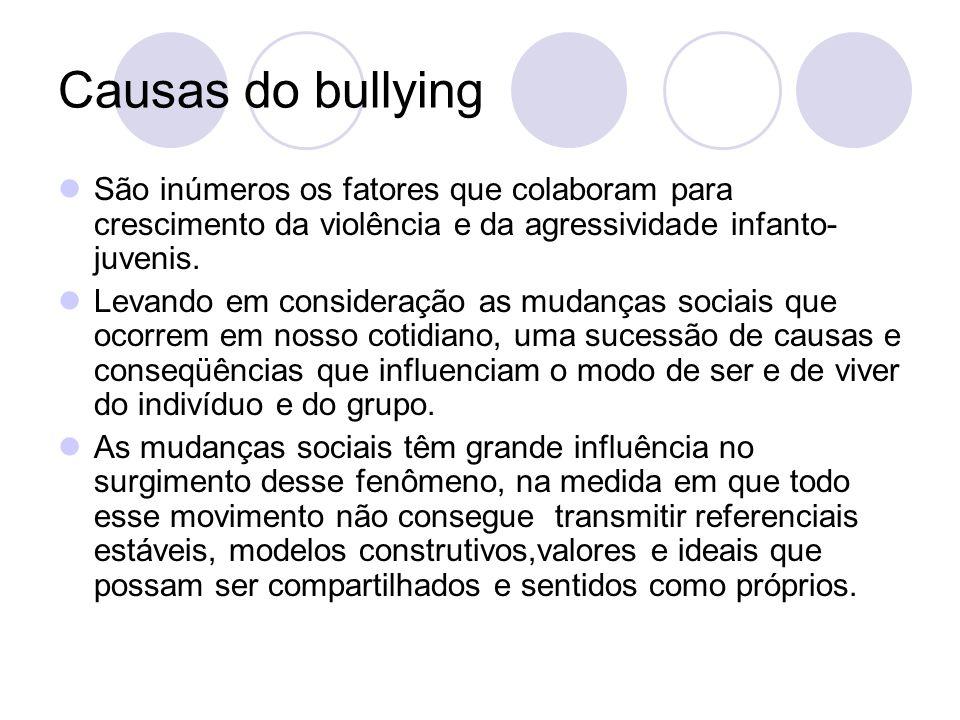 Causas do bullying São inúmeros os fatores que colaboram para crescimento da violência e da agressividade infanto- juvenis. Levando em consideração as