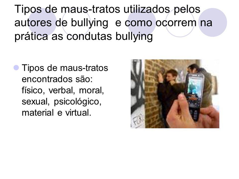 Tipos de maus-tratos utilizados pelos autores de bullying e como ocorrem na prática as condutas bullying Tipos de maus-tratos encontrados são: físico,