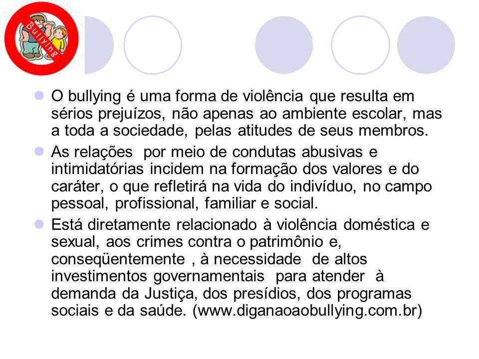 O bullying é uma forma de violência que resulta em sérios prejuízos, não apenas ao ambiente escolar, mas a toda a sociedade, pelas atitudes de seus me