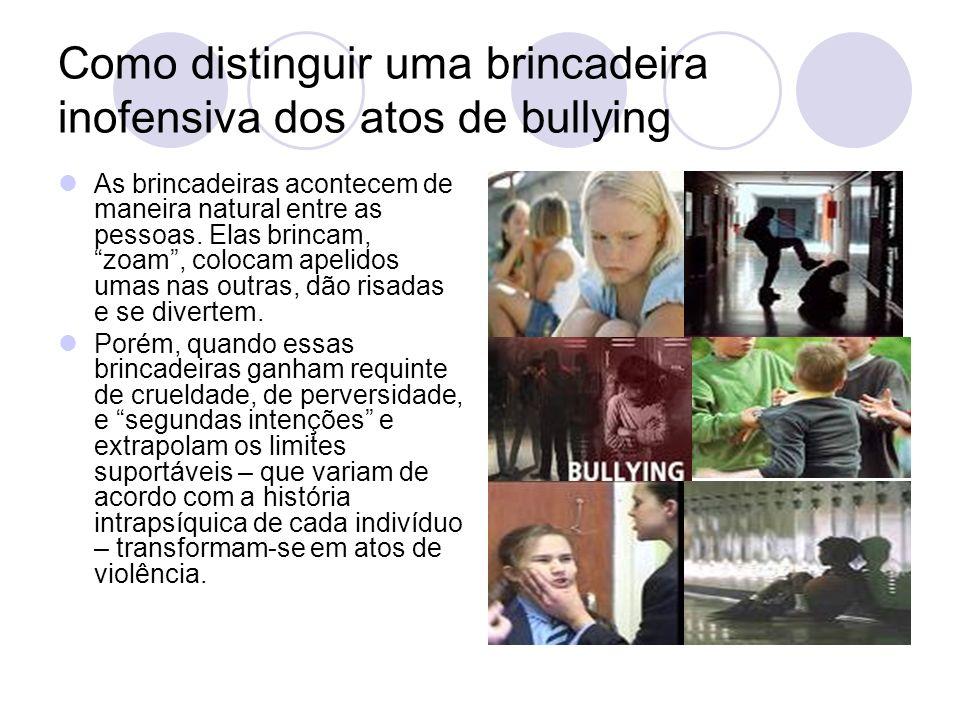 Critérios usados para identificar o comportamento bullying Os critérios básicos são: Ações repetitivas contra a mesma vítima num período prolongado de tempo; Desequilíbrio de poder, o que dificulta a defesa da vítima; Ausência de motivos que justifiquem os ataques.