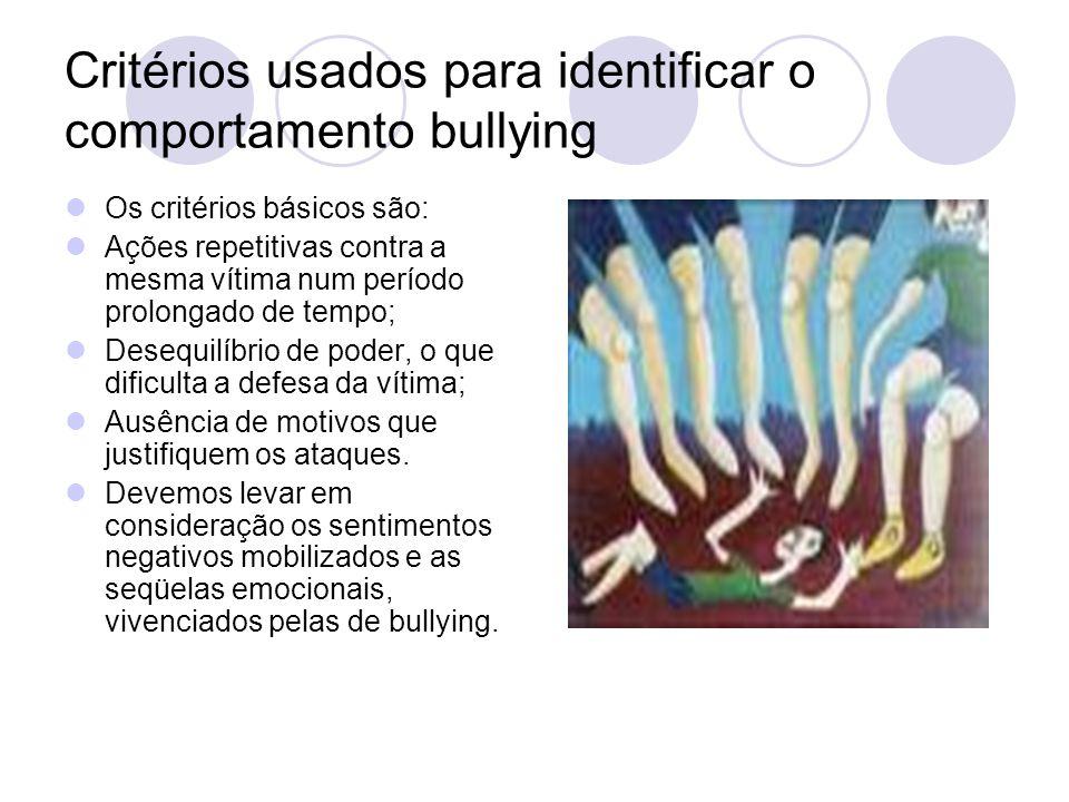 Critérios usados para identificar o comportamento bullying Os critérios básicos são: Ações repetitivas contra a mesma vítima num período prolongado de