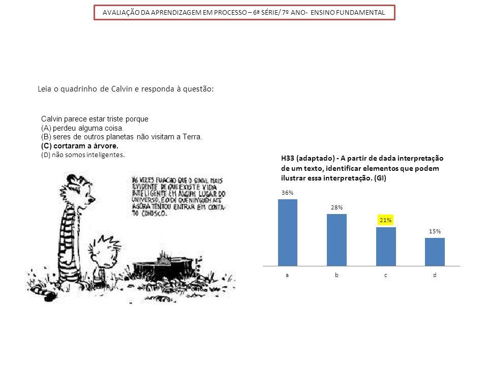 Leia o quadrinho de Calvin e responda à questão: Calvin parece estar triste porque (A) perdeu alguma coisa. (B) seres de outros planetas não visitam a