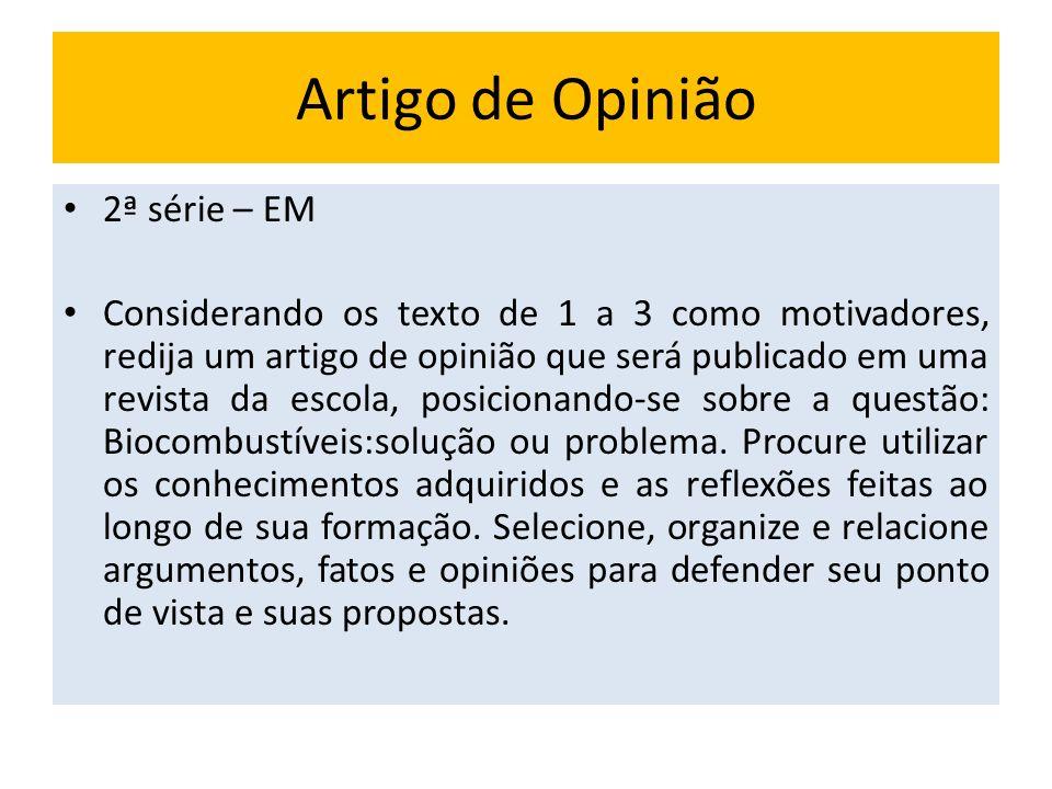 Artigo de Opinião 2ª série – EM Considerando os texto de 1 a 3 como motivadores, redija um artigo de opinião que será publicado em uma revista da esco