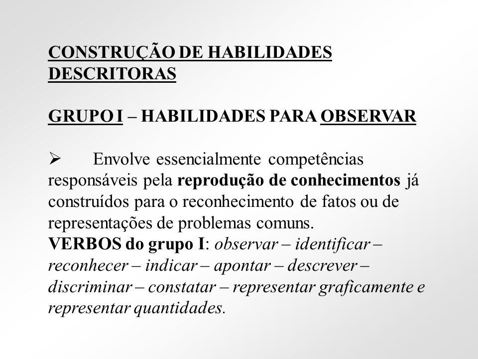 CONSTRUÇÃO DE HABILIDADES DESCRITORAS GRUPO I – HABILIDADES PARA OBSERVAR Envolve essencialmente competências responsáveis pela reprodução de conhecim
