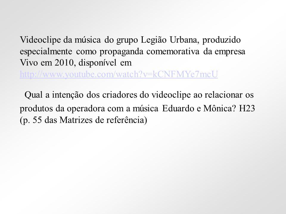 Videoclipe da m ú sica do grupo Legião Urbana, produzido especialmente como propaganda comemorativa da empresa Vivo em 2010, dispon í vel em http://ww