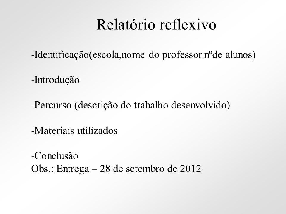-Identificação(escola,nome do professor nºde alunos) -Introdução -Percurso (descrição do trabalho desenvolvido) -Materiais utilizados -Conclusão Obs.: