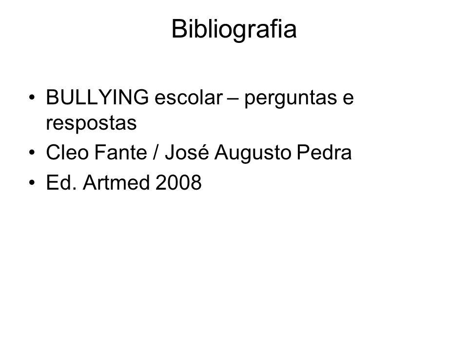 Bibliografia BULLYING escolar – perguntas e respostas Cleo Fante / José Augusto Pedra Ed. Artmed 2008