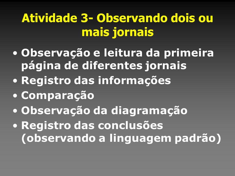 Atividade 3- Observando dois ou mais jornais Observação e leitura da primeira página de diferentes jornais Registro das informações Comparação Observa