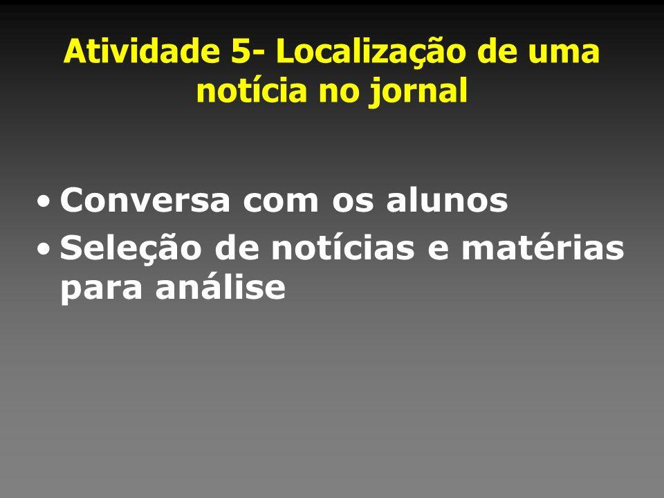 Atividade 5- Localização de uma notícia no jornal Conversa com os alunos Seleção de notícias e matérias para análise
