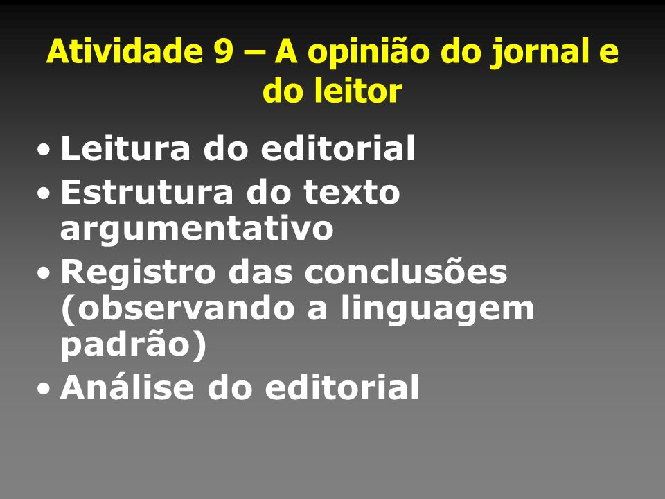 Atividade 9 – A opinião do jornal e do leitor Leitura do editorial Estrutura do texto argumentativo Registro das conclusões (observando a linguagem pa