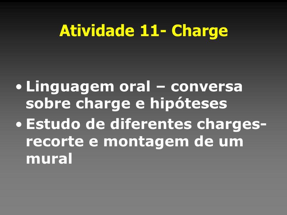 Atividade 11- Charge Linguagem oral – conversa sobre charge e hipóteses Estudo de diferentes charges- recorte e montagem de um mural
