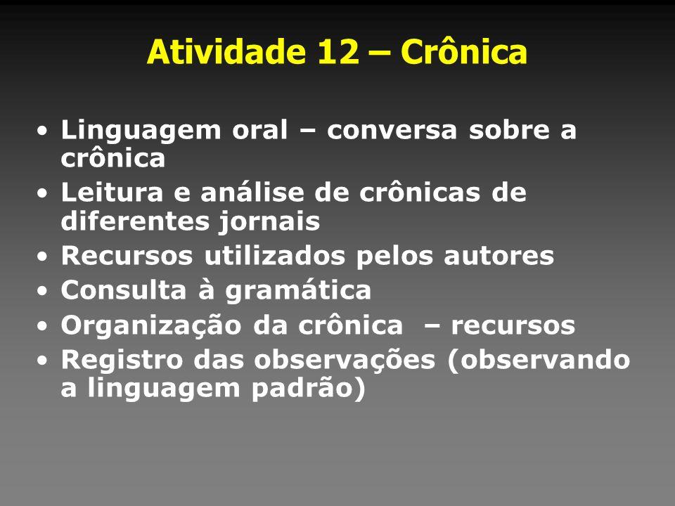 Atividade 12 – Crônica Linguagem oral – conversa sobre a crônica Leitura e análise de crônicas de diferentes jornais Recursos utilizados pelos autores