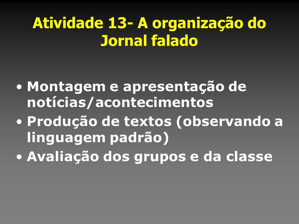Atividade 13- A organização do Jornal falado Montagem e apresentação de notícias/acontecimentos Produção de textos (observando a linguagem padrão) Ava