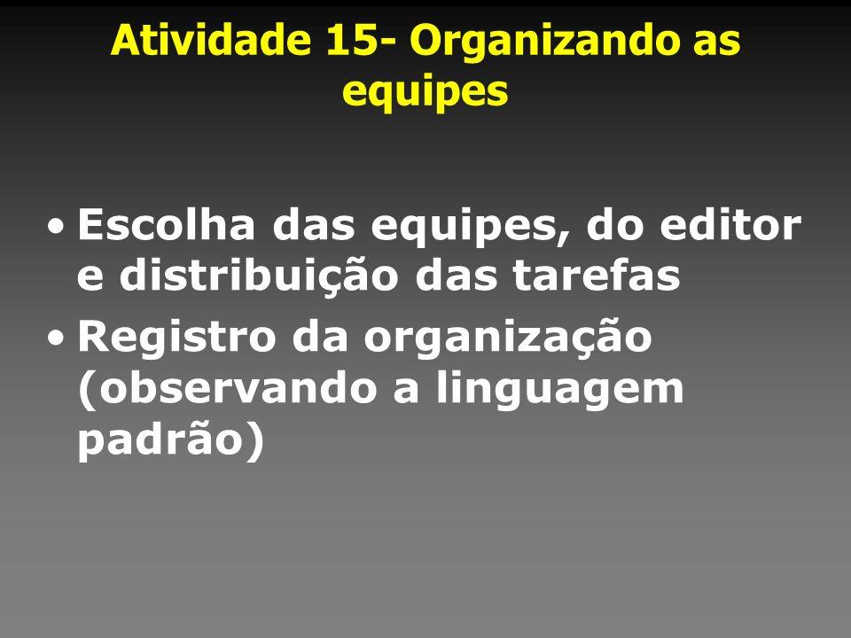 Atividade 15- Organizando as equipes Escolha das equipes, do editor e distribuição das tarefas Registro da organização (observando a linguagem padrão)