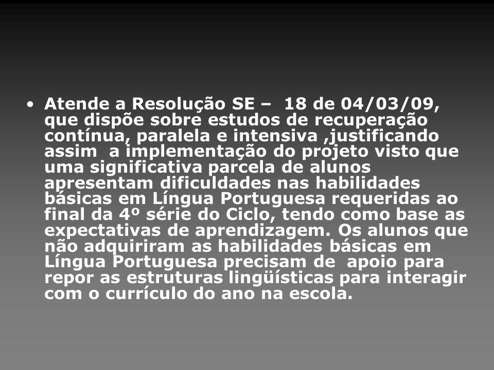 Atende a Resolução SE – 18 de 04/03/09, que dispõe sobre estudos de recuperação contínua, paralela e intensiva,justificando assim a implementação do p