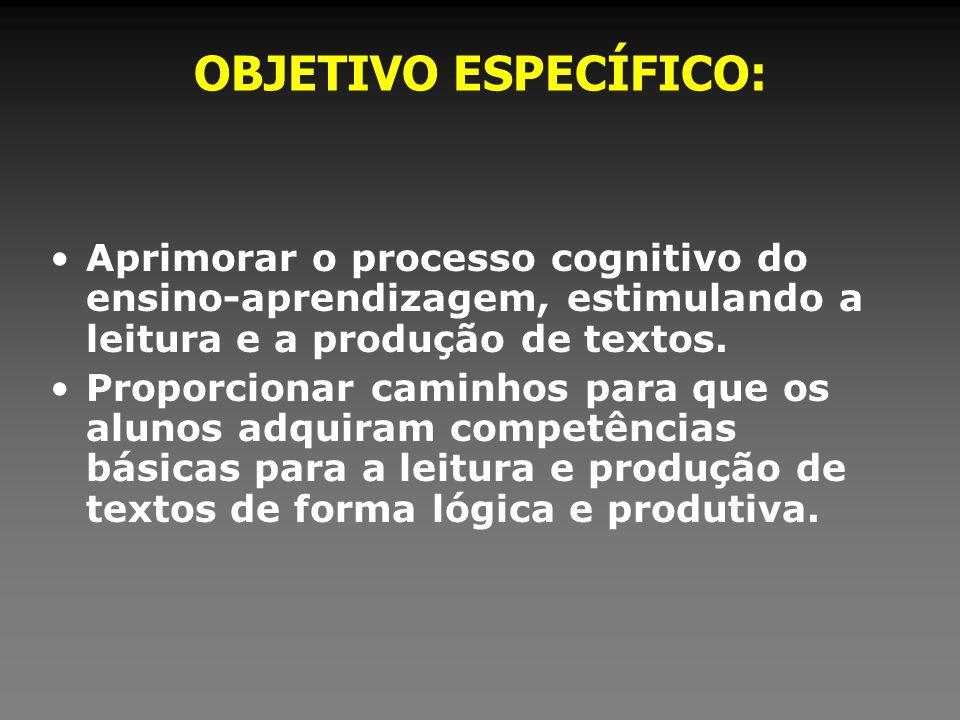 OBJETIVO ESPECÍFICO: Aprimorar o processo cognitivo do ensino-aprendizagem, estimulando a leitura e a produção de textos. Proporcionar caminhos para q