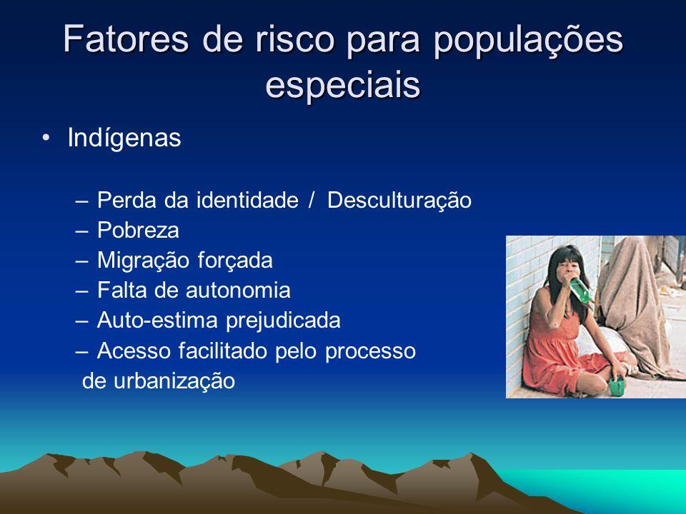 Fatores de risco para populações especiais Indígenas –Perda da identidade / Desculturação –Pobreza –Migração forçada –Falta de autonomia –Auto-estima