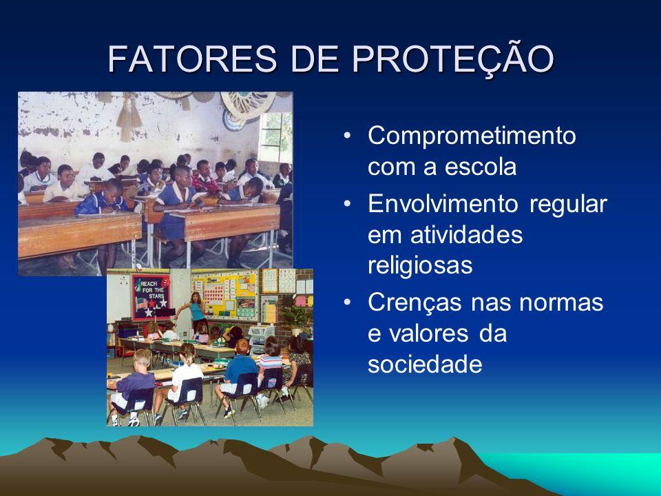 FATORES DE PROTEÇÃO Comprometimento com a escola Envolvimento regular em atividades religiosas Crenças nas normas e valores da sociedade