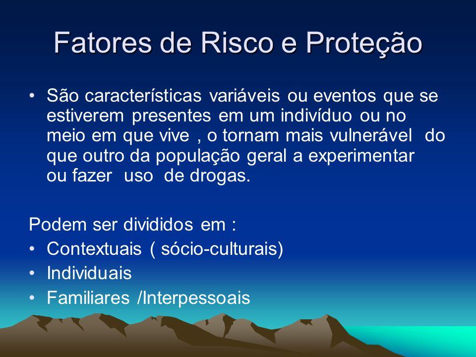 FATORES DE RISCO Contextuais (sócio-culturais): Leis e normas relativas ao consumo de álcool e drogas.