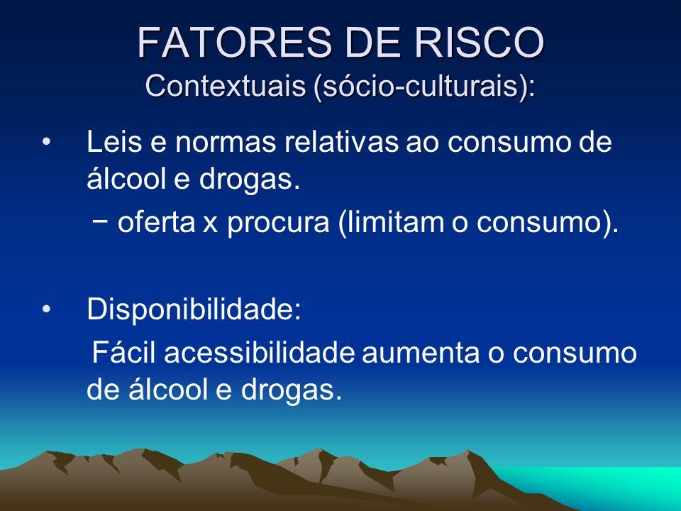 FATORES DE RISCO Contextuais (sócio-culturais): Leis e normas relativas ao consumo de álcool e drogas. oferta x procura (limitam o consumo). Disponibi