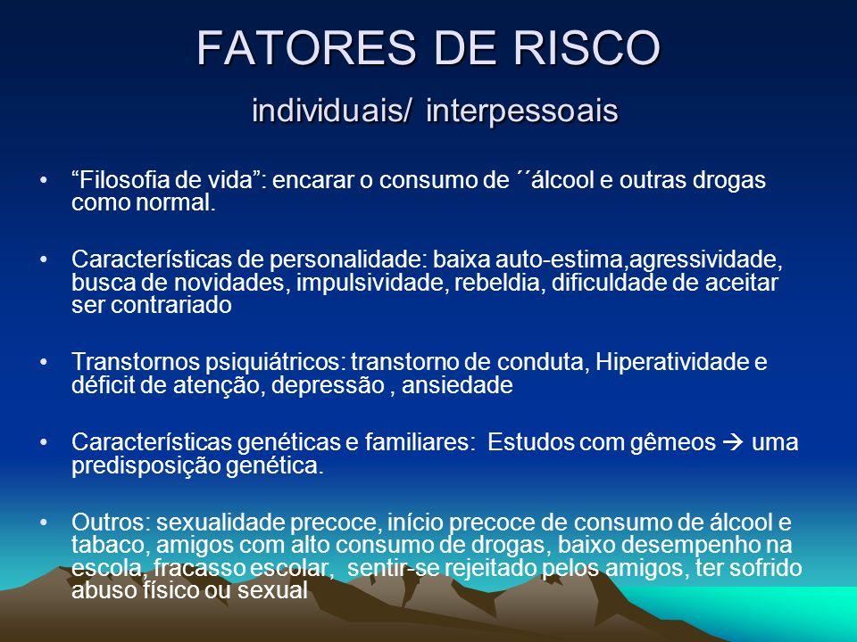 FATORES DE RISCO individuais/ interpessoais Filosofia de vida: encarar o consumo de ´´álcool e outras drogas como normal. Características de personali