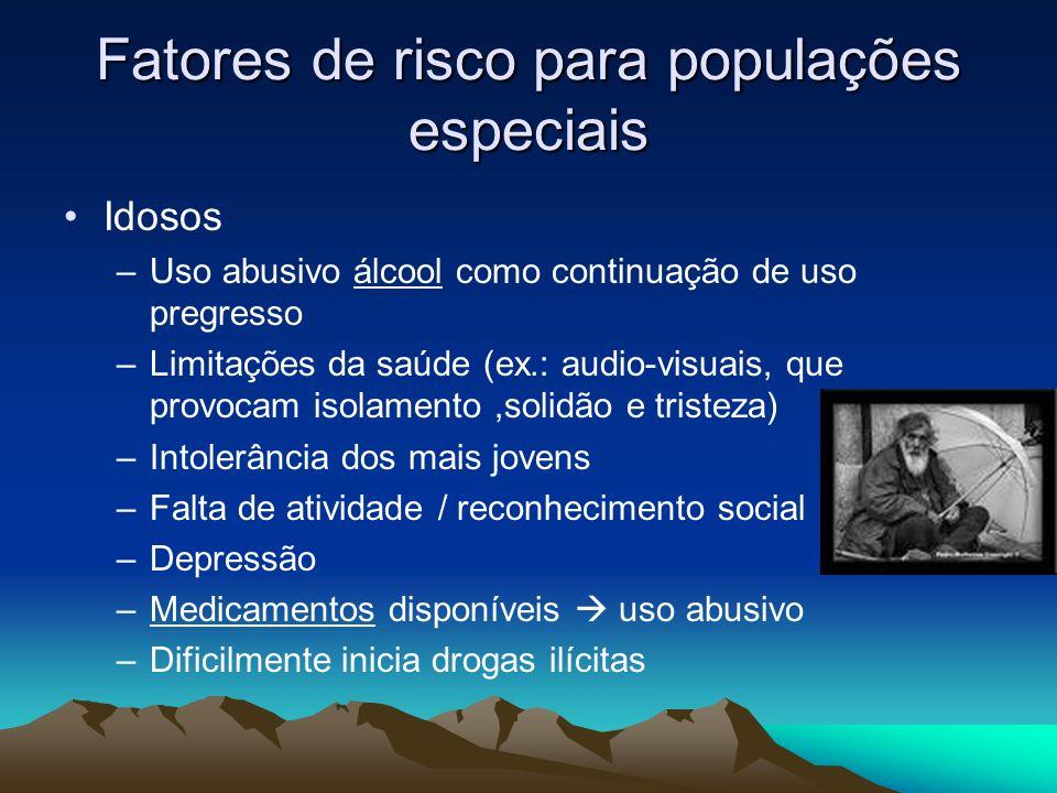 Fatores de risco para populações especiais Idosos –Uso abusivo álcool como continuação de uso pregresso –Limitações da saúde (ex.: audio-visuais, que