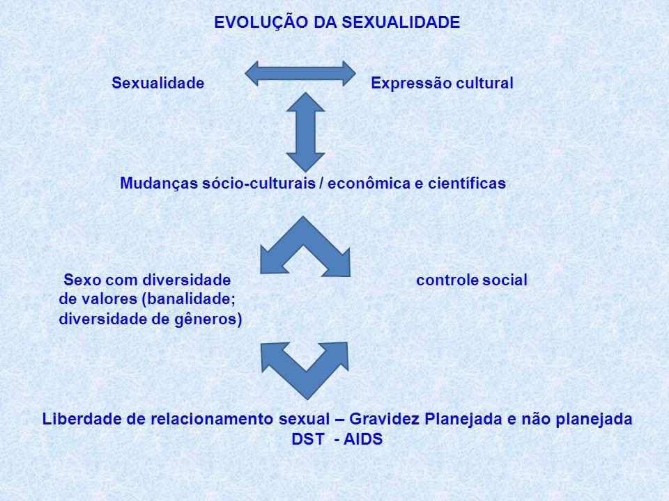 EVOLUÇÃO DA SEXUALIDADE Sexualidade Expressão cultural Mudanças sócio-culturais / econômica e científicas Sexo com diversidade controle social de valores (banalidade; diversidade de gêneros ) Liberdade de relacionamento sexual – Gravidez Planejada e não planejada DST - AIDS