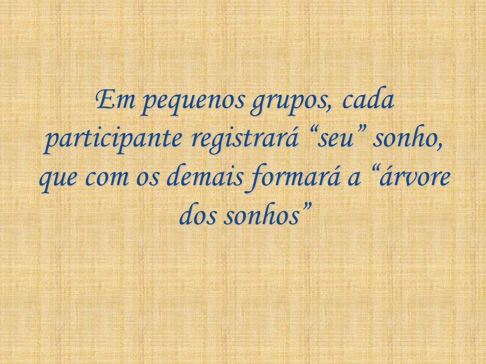 Em pequenos grupos, cada participante registrará seu sonho, que com os demais formará a árvore dos sonhos
