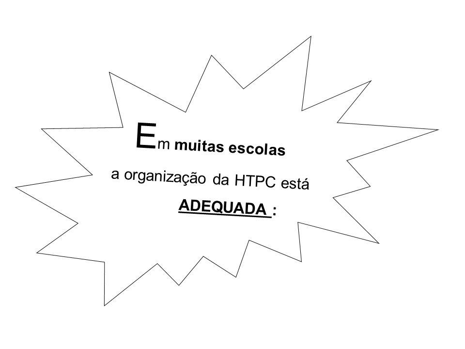 E m muitas escolas a organização da HTPC está ADEQUADA :