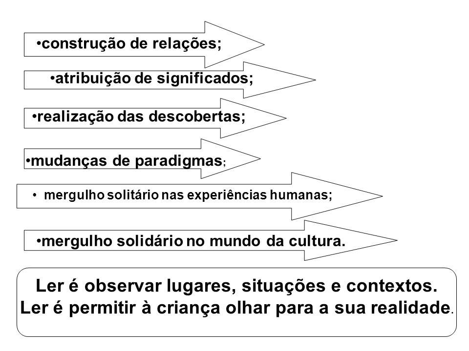 construção de relações; atribuição de significados; realização das descobertas; mudanças de paradigmas ; mergulho solitário nas experiências humanas;