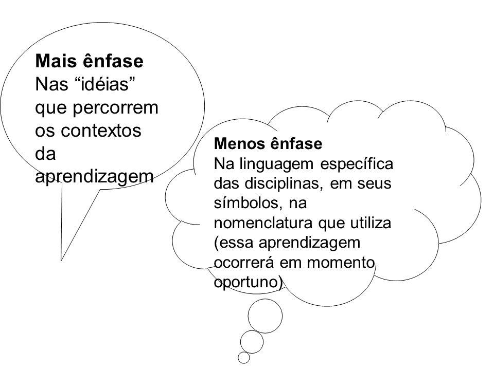 Mais ênfase Nas idéias que percorrem os contextos da aprendizagem Menos ênfase Na linguagem específica das disciplinas, em seus símbolos, na nomenclat