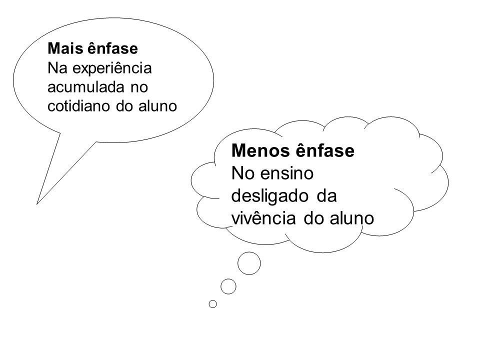 Mais ênfase Na experiência acumulada no cotidiano do aluno Menos ênfase No ensino desligado da vivência do aluno