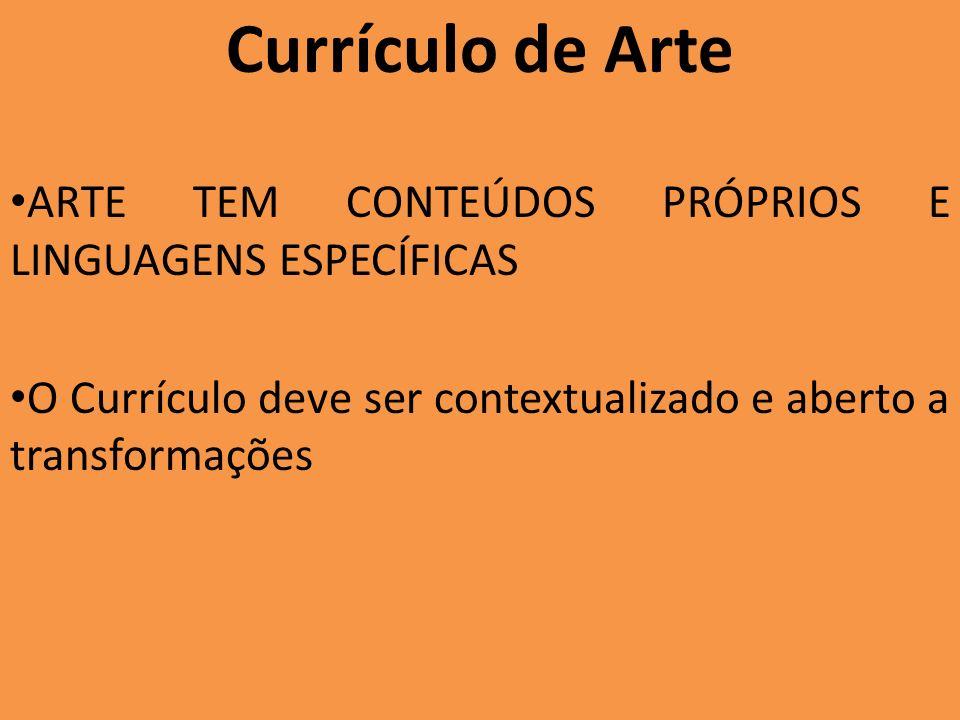 A importância do currículo Textos e propostas de ação definem: Quem estamos formando Concepção de arte Concepção de Educação Concepção de aprendizagem em arte