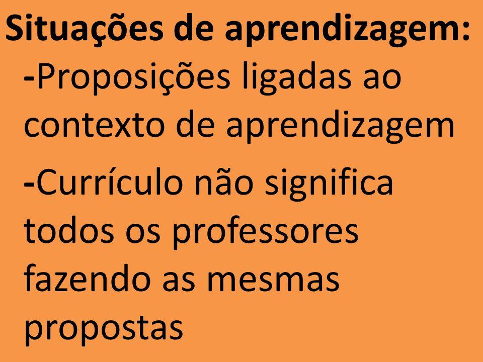 Situações de aprendizagem: -Proposições ligadas ao contexto de aprendizagem -Currículo não significa todos os professores fazendo as mesmas propostas