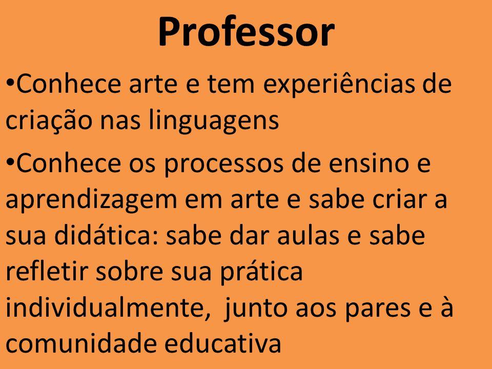 Professor Conhece arte e tem experiências de criação nas linguagens Conhece os processos de ensino e aprendizagem em arte e sabe criar a sua didática: sabe dar aulas e sabe refletir sobre sua prática individualmente, junto aos pares e à comunidade educativa