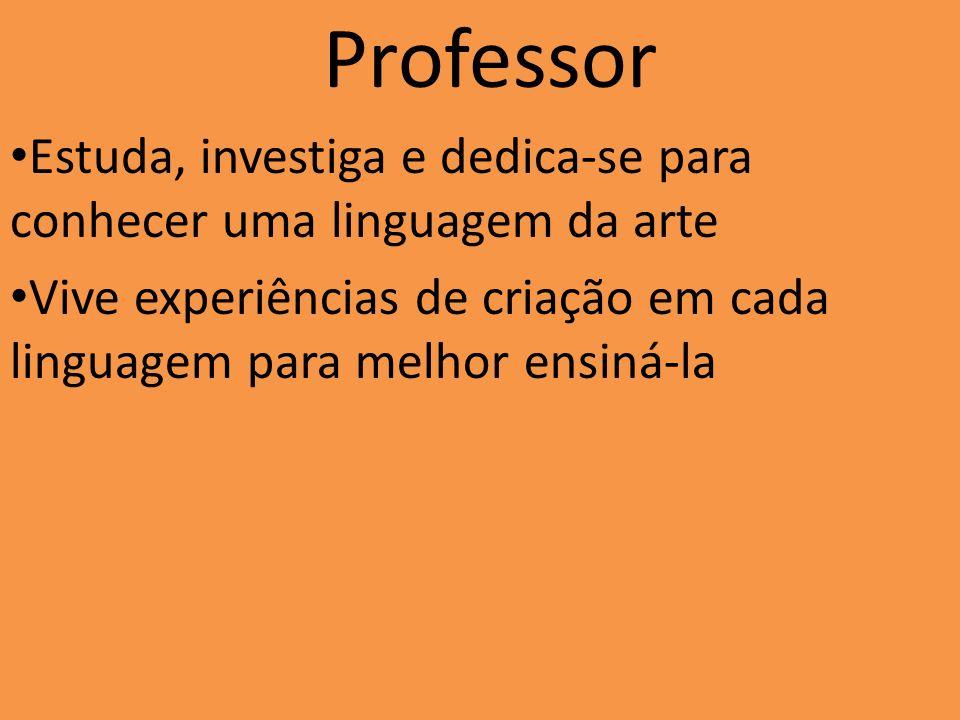 Professor Estuda, investiga e dedica-se para conhecer uma linguagem da arte Vive experiências de criação em cada linguagem para melhor ensiná-la