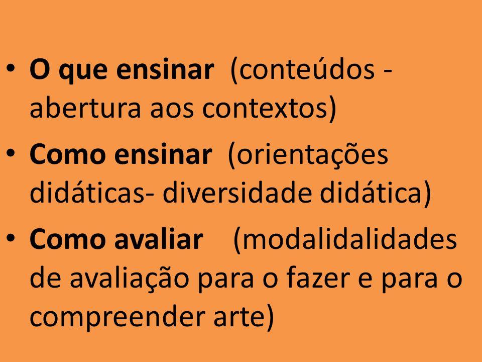 O que ensinar (conteúdos - abertura aos contextos) Como ensinar (orientações didáticas- diversidade didática) Como avaliar (modalidalidades de avaliação para o fazer e para o compreender arte)
