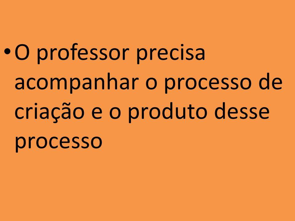 O professor precisa acompanhar o processo de criação e o produto desse processo