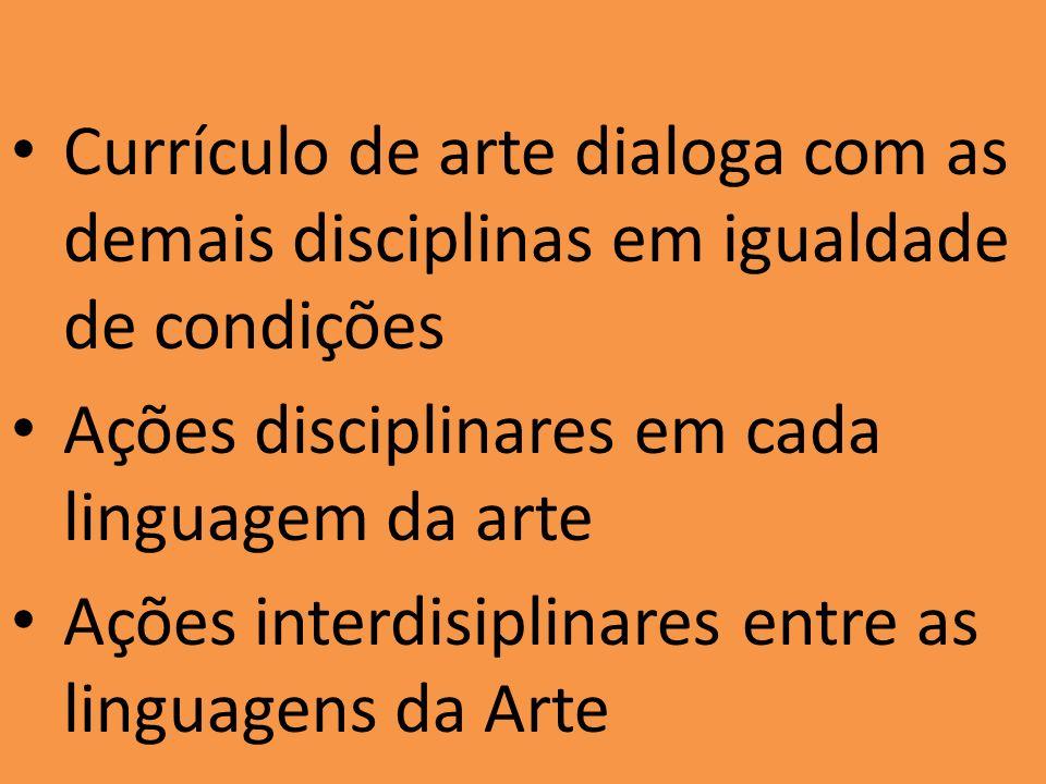 Currículo de arte dialoga com as demais disciplinas em igualdade de condições Ações disciplinares em cada linguagem da arte Ações interdisiplinares entre as linguagens da Arte